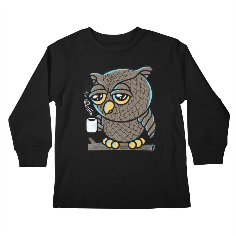 Owl I Want is Coffee Kids Longsleeve T-Shirt by Qetza