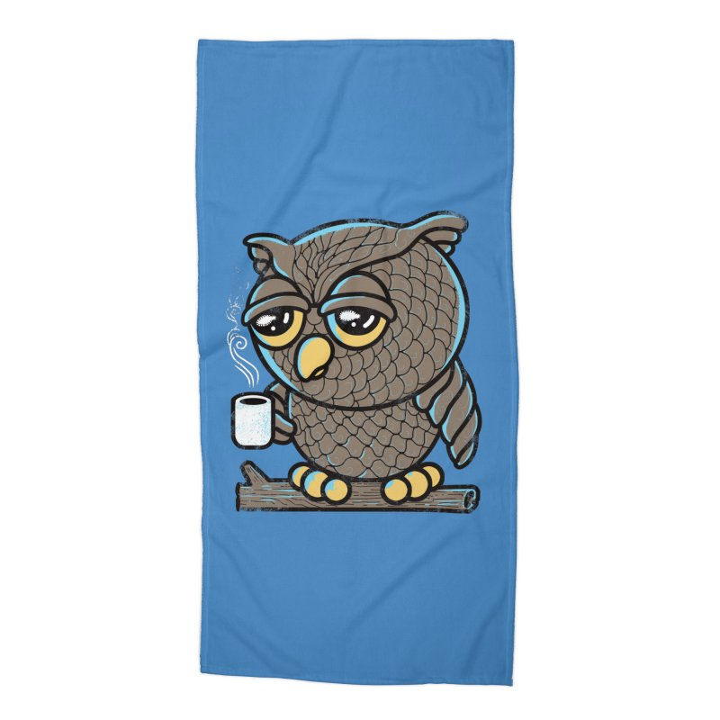 Owl I Want is Coffee Accessories Beach Towel by Qetza