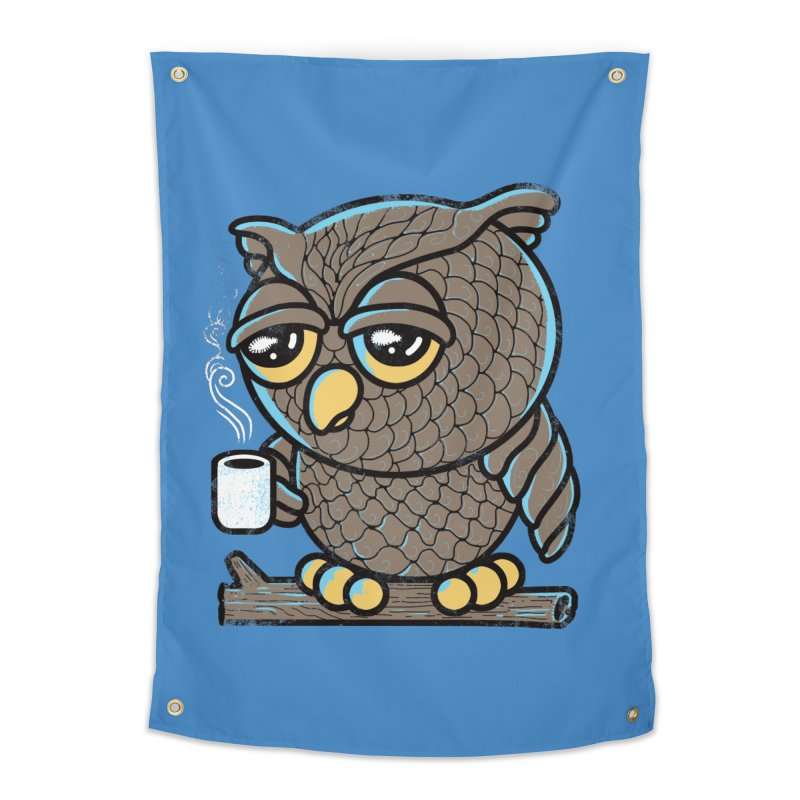 Owl I Want is Coffee Home Tapestry by Qetza