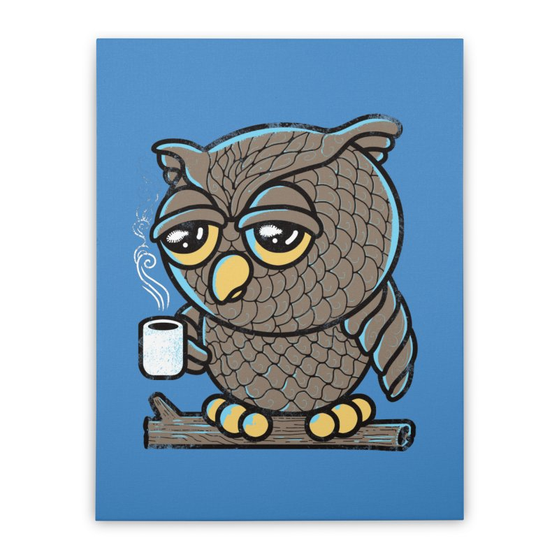 Owl I Want is Coffee Home Stretched Canvas by Qetza