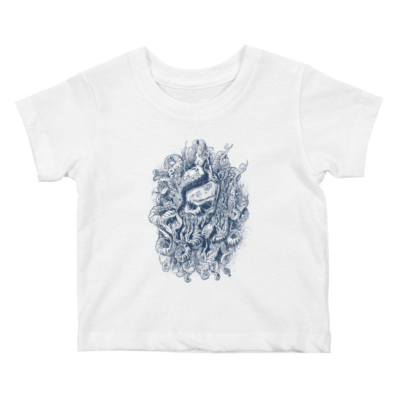 Mermaid of the Deep Kids Baby T-Shirt by Qetza