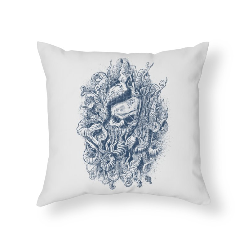 Mermaid of the Deep Home Throw Pillow by Qetza