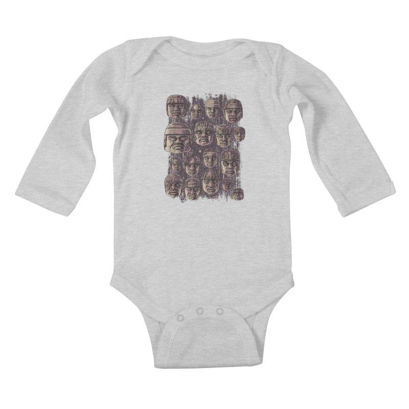 Ancient Olmecs Kids Baby Longsleeve Bodysuit by Qetza