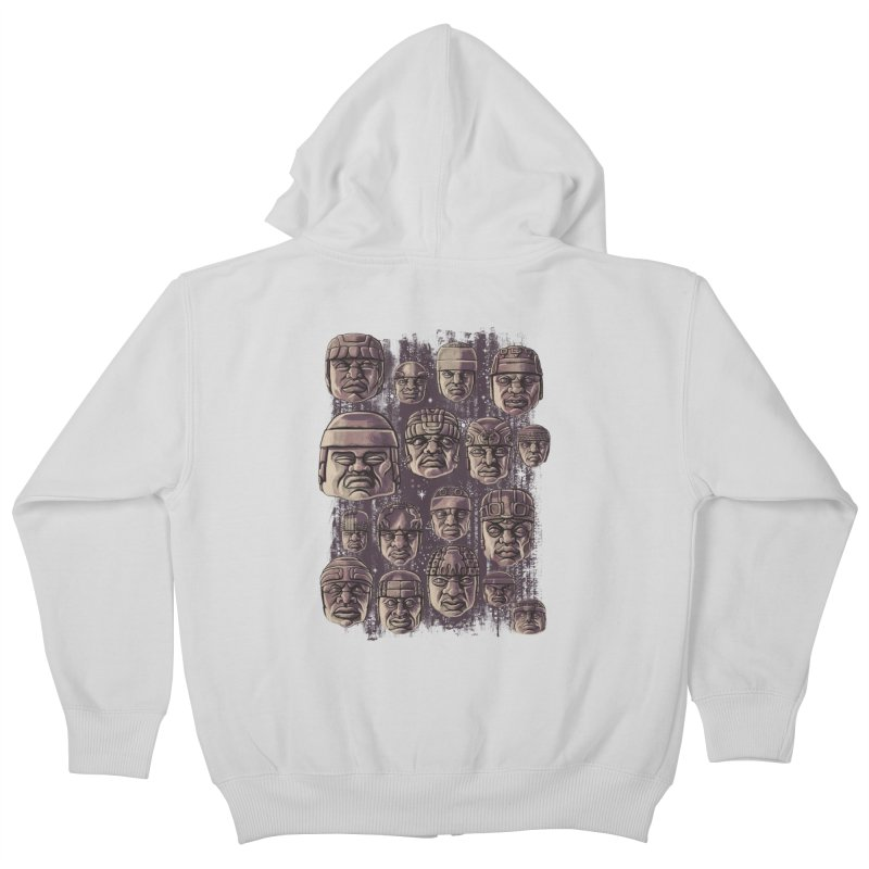 Ancient Olmecs Kids Zip-Up Hoody by Qetza