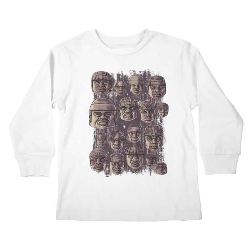 Ancient Olmecs Kids Longsleeve T-Shirt by Qetza