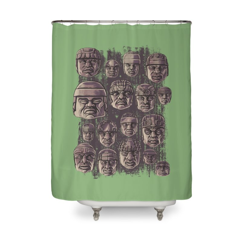 Ancient Olmecs Home Shower Curtain by Qetza