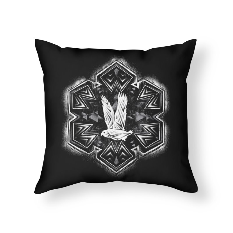 Snow Owl Home Throw Pillow by Qetza