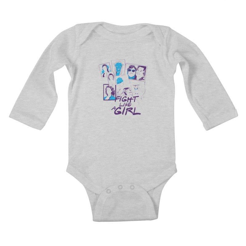 Fight Like a Girl Kids Baby Longsleeve Bodysuit by quadrin's Artist Shop