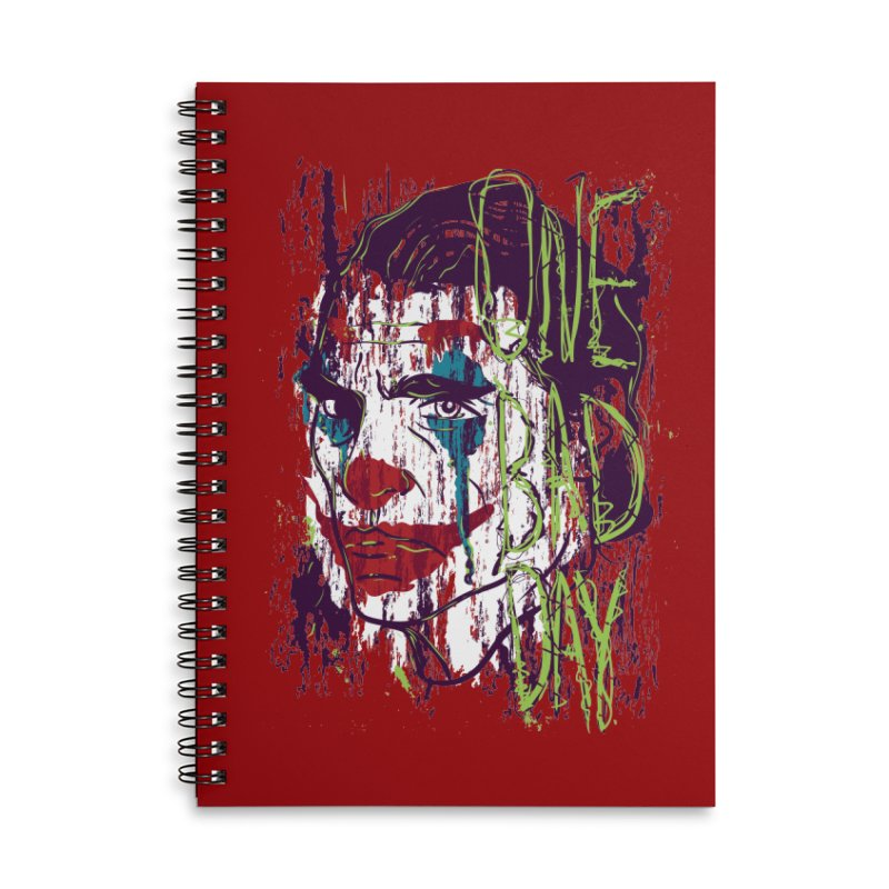 One Bad Day - Joker Accessories Lined Spiral Notebook by quadrin's Artist Shop