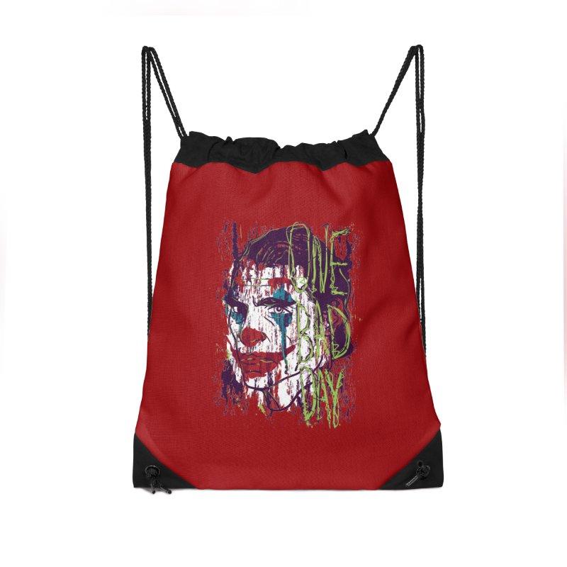 One Bad Day - Joker Accessories Drawstring Bag Bag by quadrin's Artist Shop
