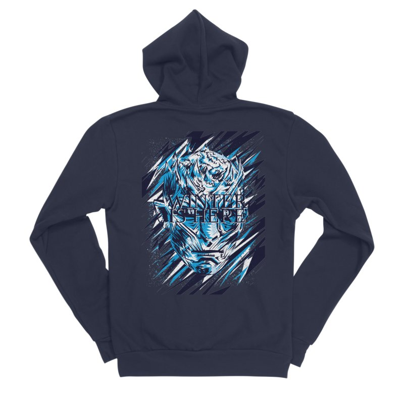 Winter is Here Men's Sponge Fleece Zip-Up Hoody by quadrin's Artist Shop