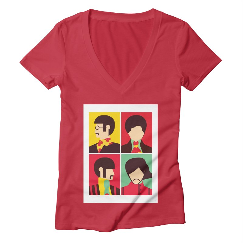 The Fab Four - Minimalist Women's V-Neck by quadrin's Artist Shop