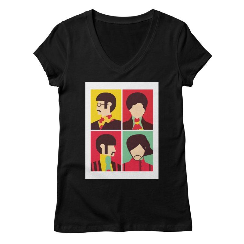 The Fab Four - Minimalist Women's V-Neck by quadrin's Artist Shop