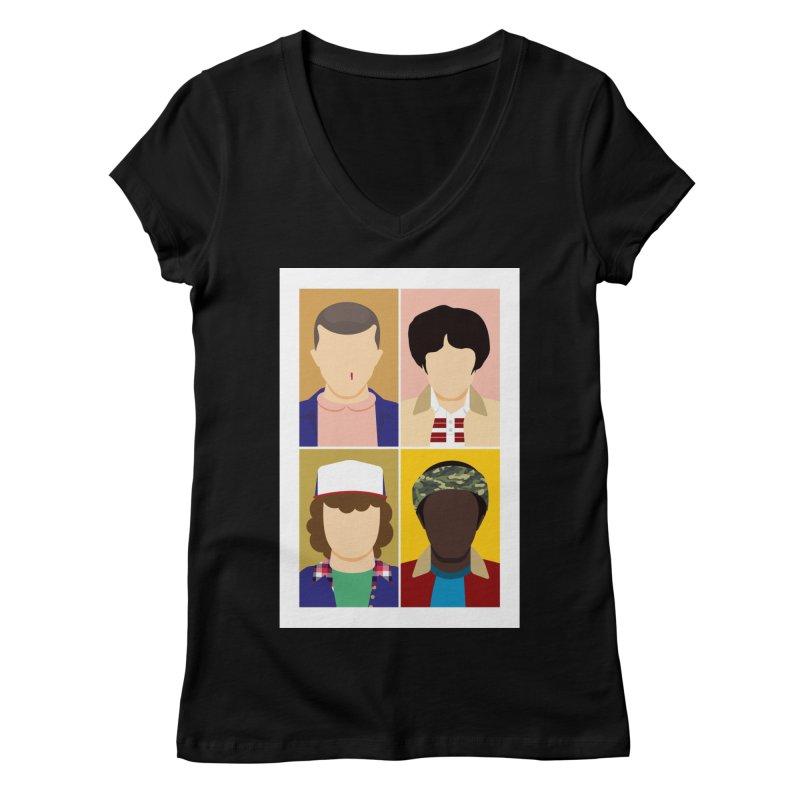 The Stranger Fab Four Women's V-Neck by quadrin's Artist Shop