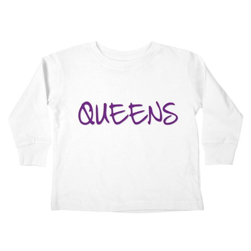 Queens Logo (purple) Kids Toddler Longsleeve T-Shirt by Shop the Queens Series Store