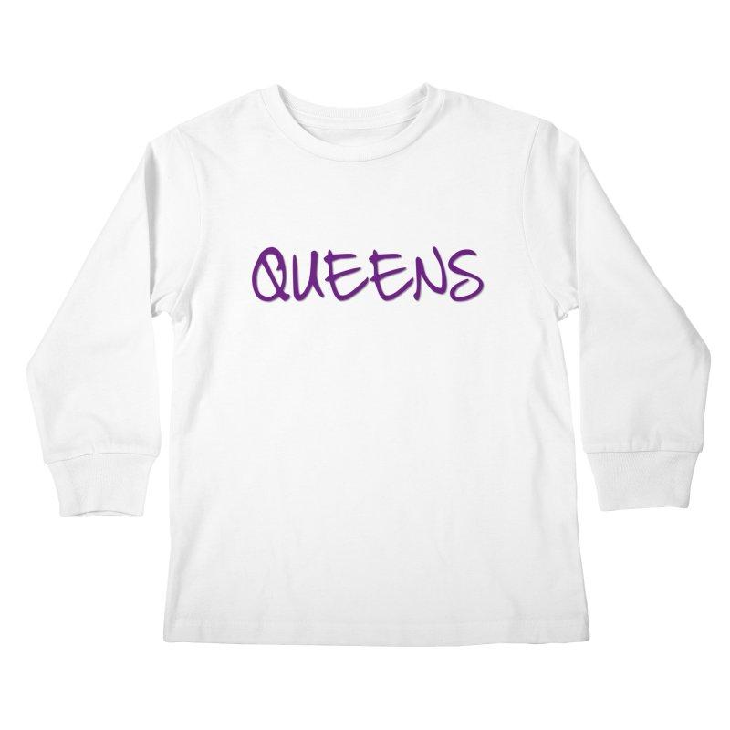 Queens Logo (purple) Kids Longsleeve T-Shirt by Shop the Queens Series Store