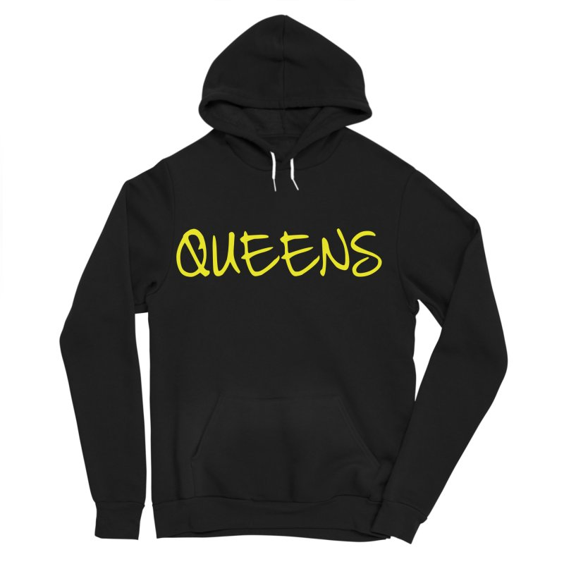 Queens Logo (Ylw) in Men's Sponge Fleece Pullover Hoody Black by Shop the Queens Series Store