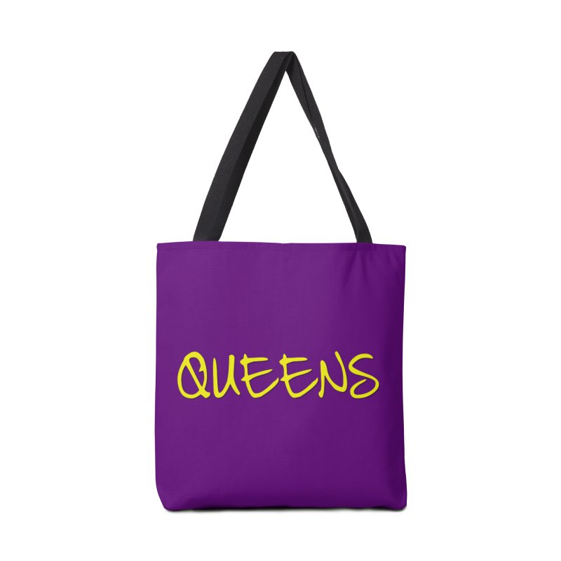 Queens Logo (Ylw - Purple BG) in Tote Bag by Shop the Queens Series Store