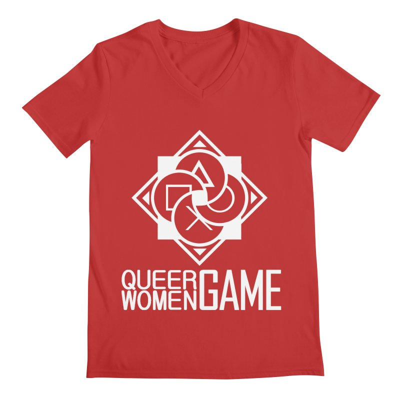 Logo & Text - Plain Men's V-Neck by Queer Women Game Loot