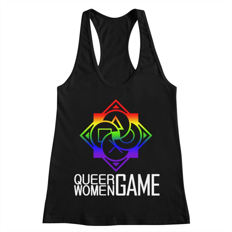 Logo & Text - LGBT+ Pride Women's Racerback Tank by Queer Women Game Loot