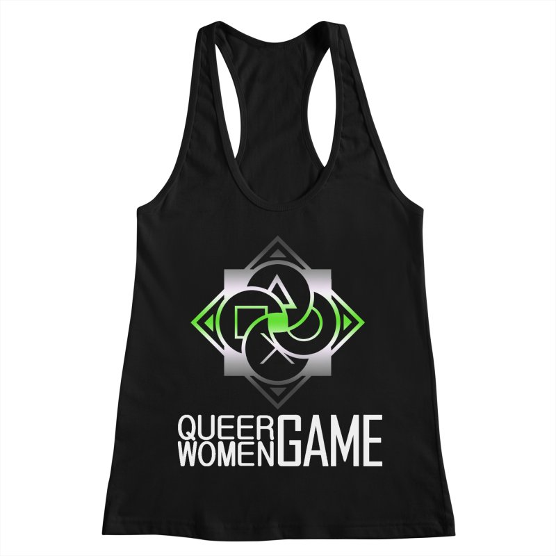 Logo & Text - Agender Pride Women's Racerback Tank by Queer Women Game Loot