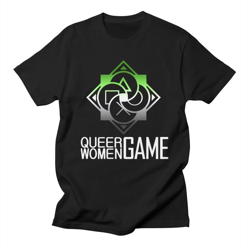 Logo & Text - Aromantic Pride Men's T-Shirt by Queer Women Game Loot