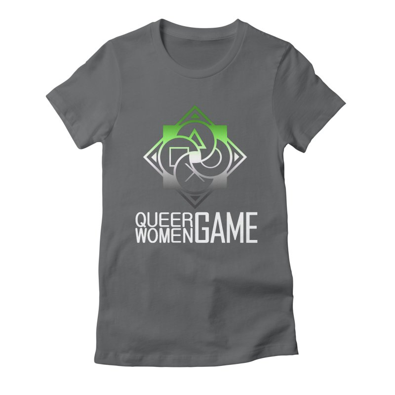 Logo & Text - Aromantic Pride Women's Fitted T-Shirt by Queer Women Game Loot