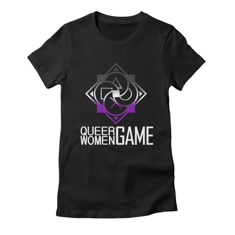 Logo & Text - Asexual Pride Women's Fitted T-Shirt by Queer Women Game Loot