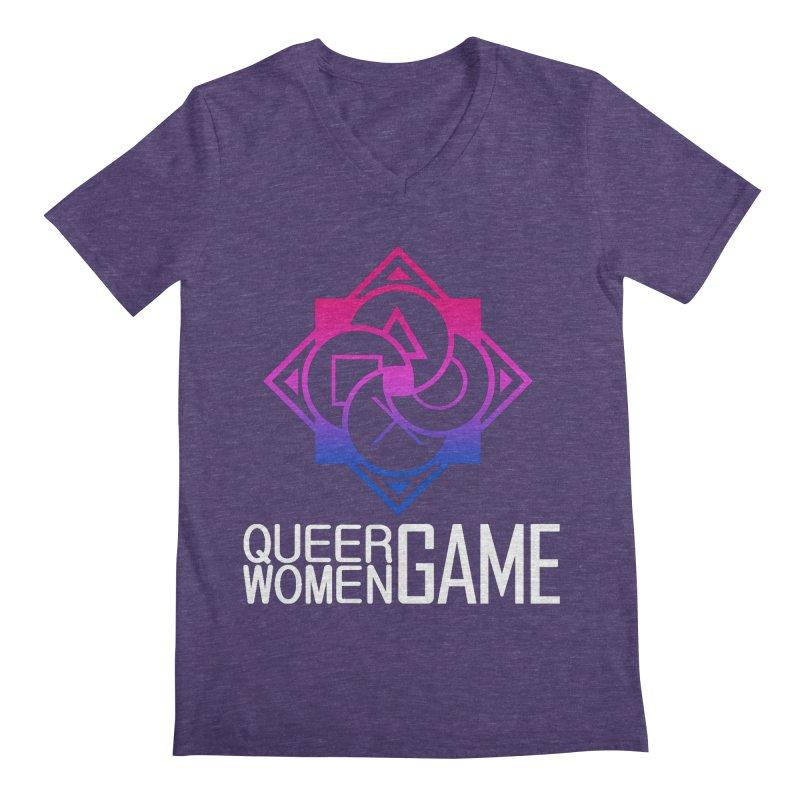 Logo & Text - Bi Pride Men's V-Neck by Queer Women Game Loot
