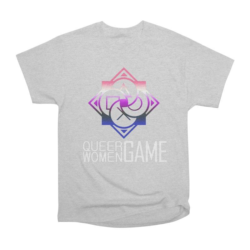 Logo & Text - Genderfluid Pride Women's Heavyweight Unisex T-Shirt by Queer Women Game Loot
