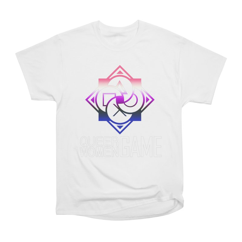 Logo & Text - Genderfluid Pride Women's Heavyweight Unisex T-Shirt by Queer Women Game Loot