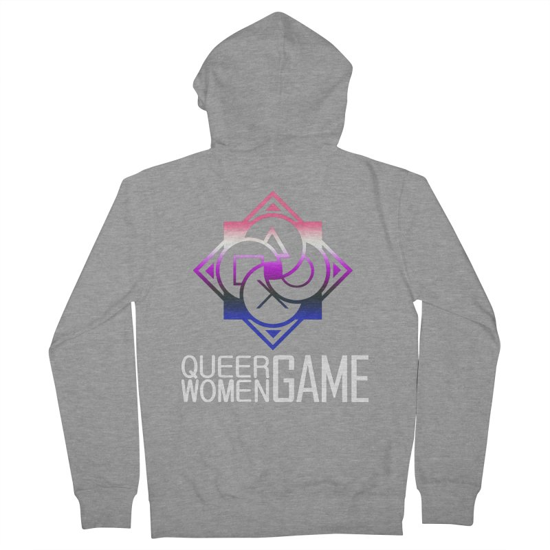 Logo & Text - Genderfluid Pride Women's French Terry Zip-Up Hoody by Queer Women Game Loot