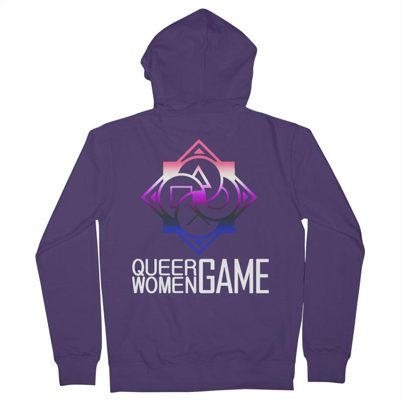 Logo & Text - Genderfluid Pride Women's French Terry Zip-Up Hoody by Queer Women Game Loot