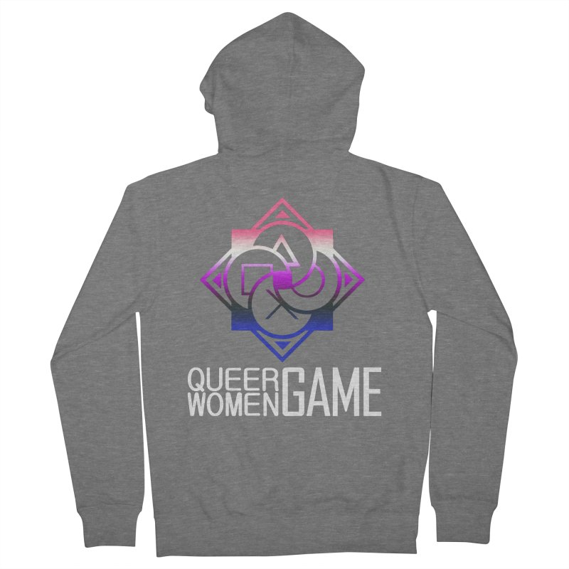 Logo & Text - Genderfluid Pride Men's French Terry Zip-Up Hoody by Queer Women Game Loot