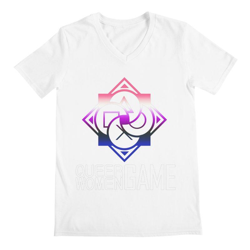 Logo & Text - Genderfluid Pride Men's Regular V-Neck by Queer Women Game Loot