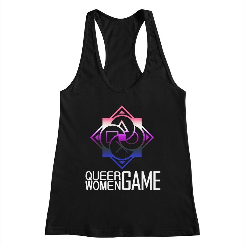 Logo & Text - Genderfluid Pride Women's Racerback Tank by Queer Women Game Loot