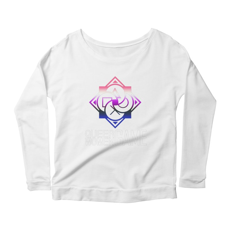 Logo & Text - Genderfluid Pride Women's Scoop Neck Longsleeve T-Shirt by Queer Women Game Loot