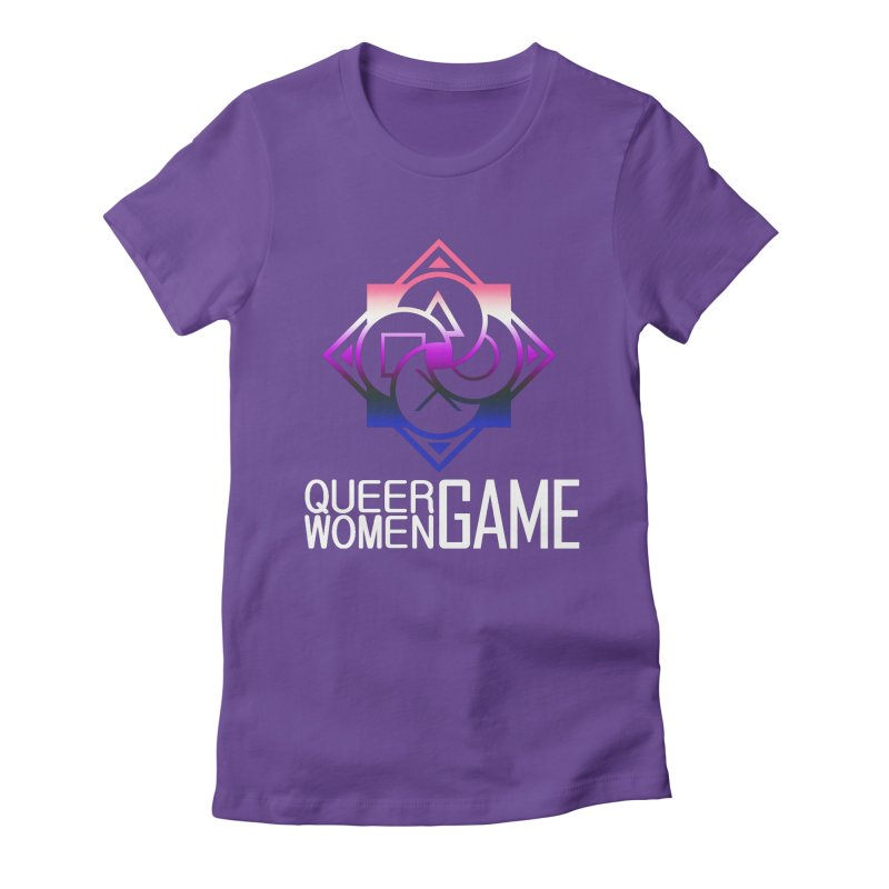 Logo & Text - Genderfluid Pride Women's Fitted T-Shirt by Queer Women Game Loot