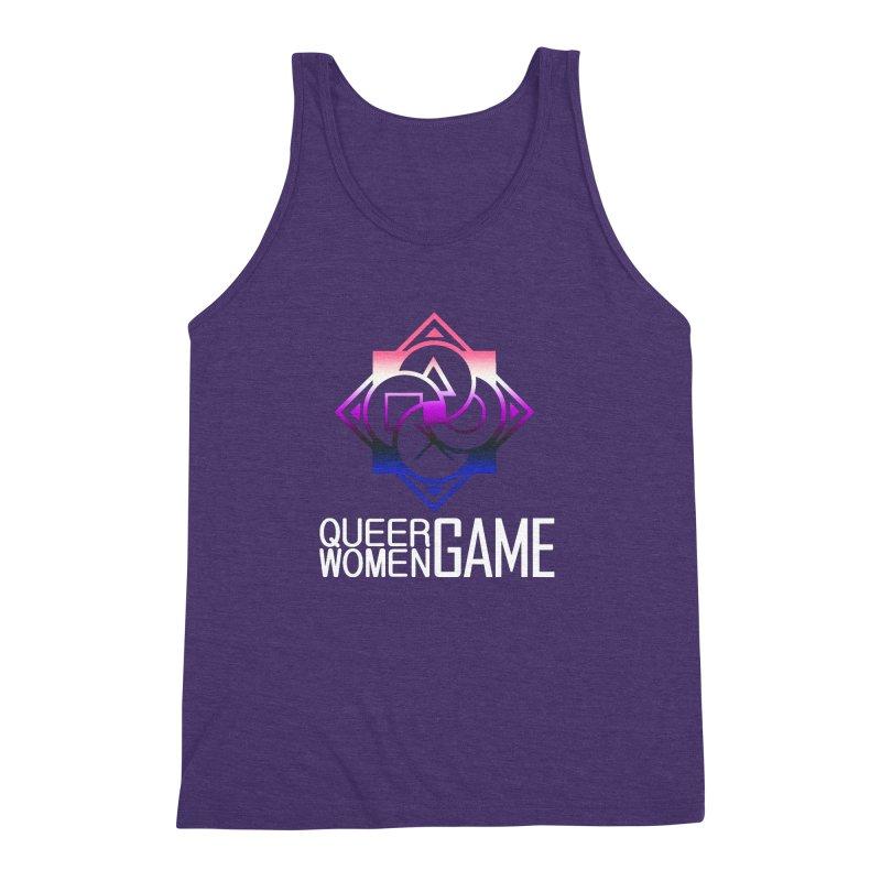 Logo & Text - Genderfluid Pride Men's Triblend Tank by Queer Women Game Loot
