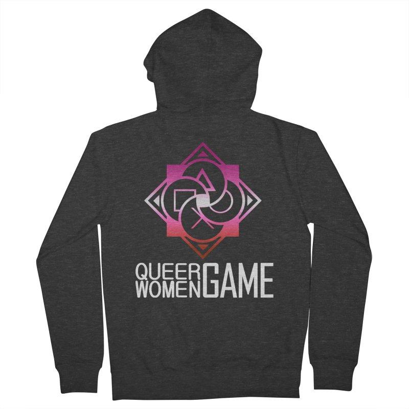 Logo & Text - Lesbian Pride Men's Zip-Up Hoody by Queer Women Game Loot