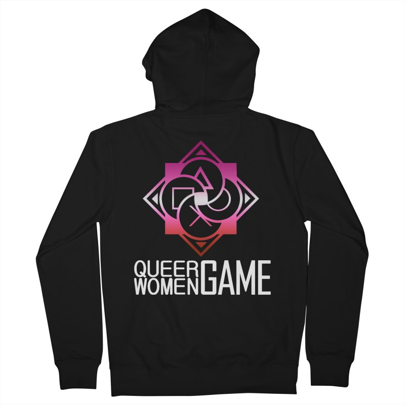 Logo & Text - Lesbian Pride Men's Zip-Up Hoody by Queer Women Game Loot