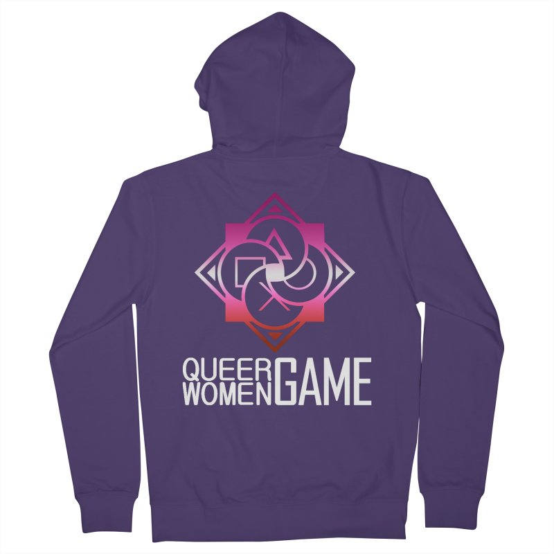 Logo & Text - Lesbian Pride Women's French Terry Zip-Up Hoody by Queer Women Game Loot