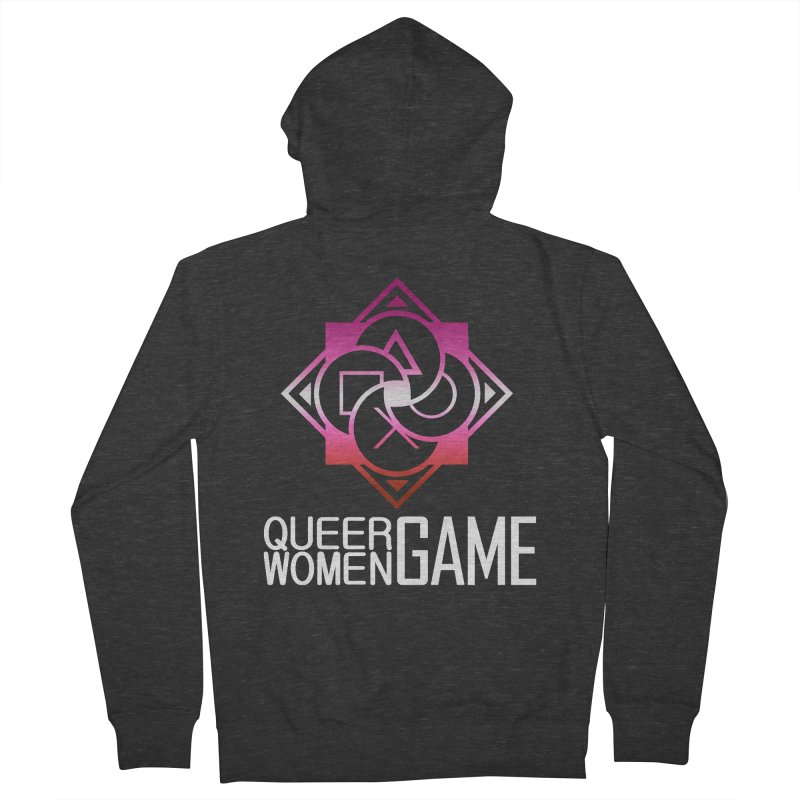 Logo & Text - Lesbian Pride Men's French Terry Zip-Up Hoody by Queer Women Game Loot