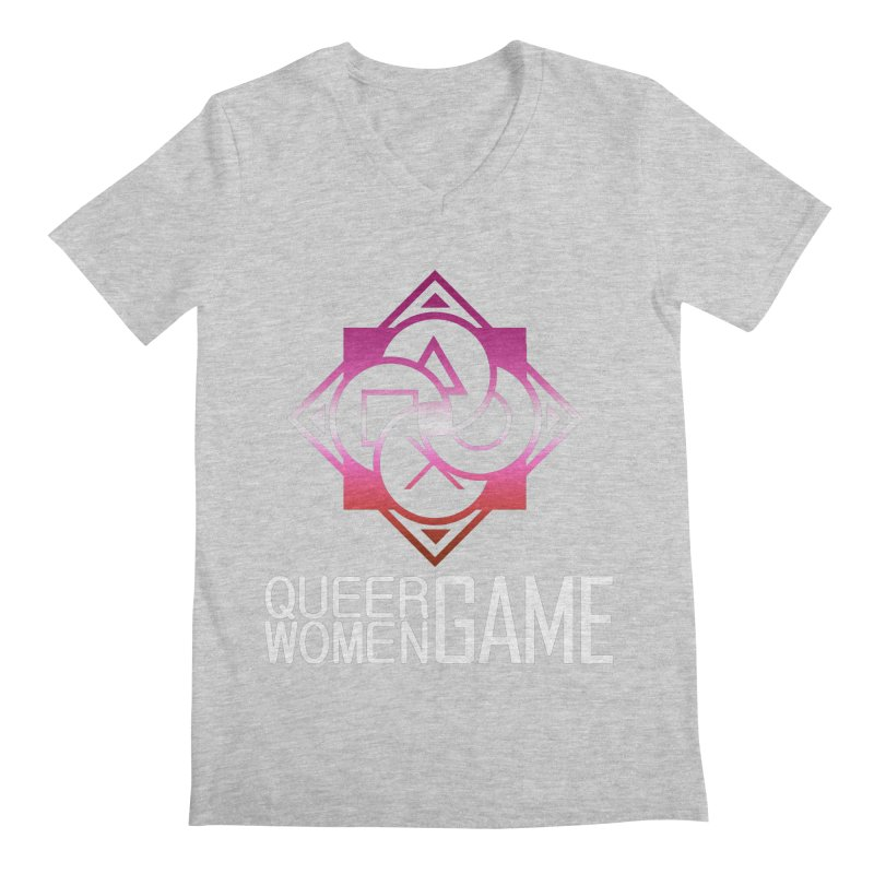 Logo & Text - Lesbian Pride Men's Regular V-Neck by Queer Women Game Loot