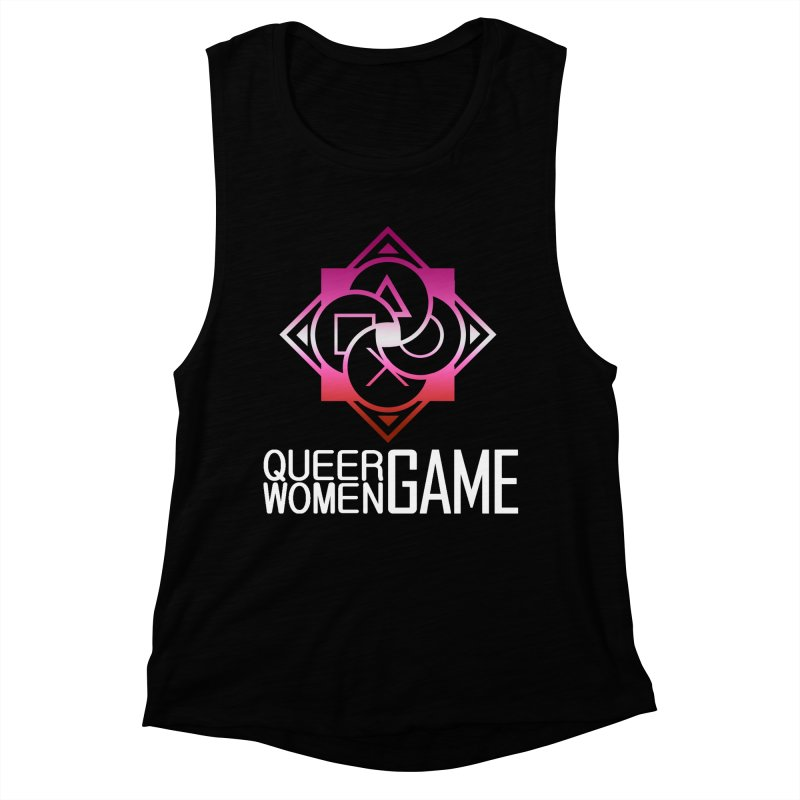 Logo & Text - Lesbian Pride Women's Muscle Tank by Queer Women Game Loot
