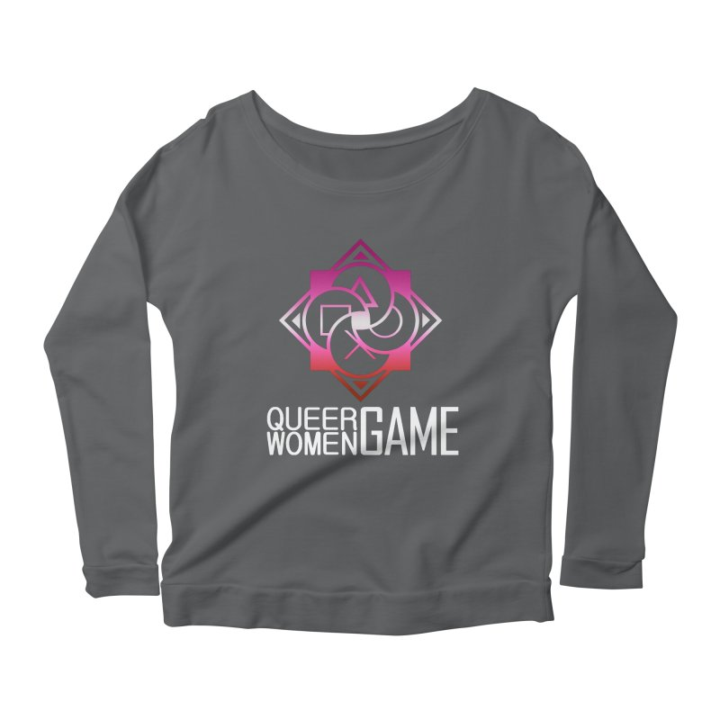 Logo & Text - Lesbian Pride Women's Scoop Neck Longsleeve T-Shirt by Queer Women Game Loot