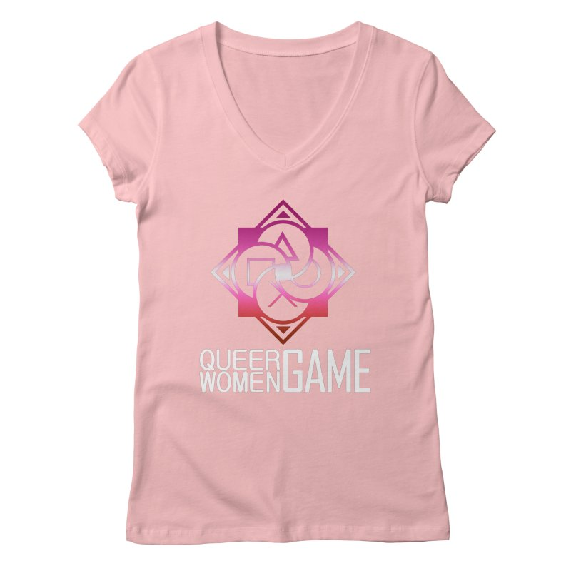 Logo & Text - Lesbian Pride Women's Regular V-Neck by Queer Women Game Loot