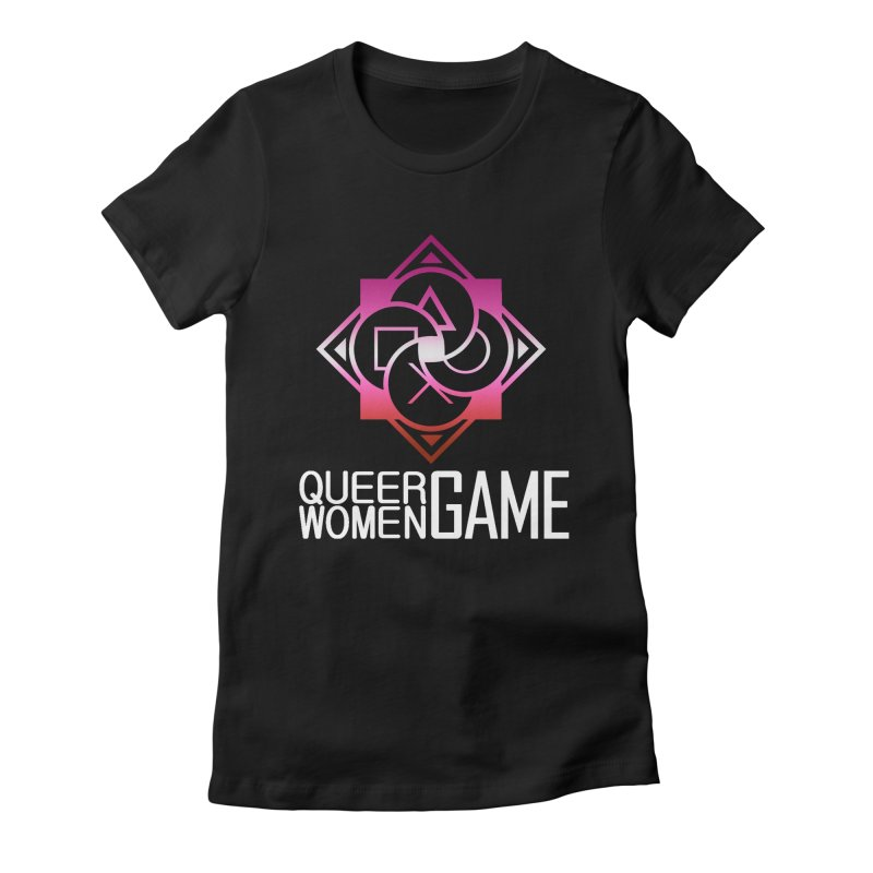 Logo & Text - Lesbian Pride Women's Fitted T-Shirt by Queer Women Game Loot