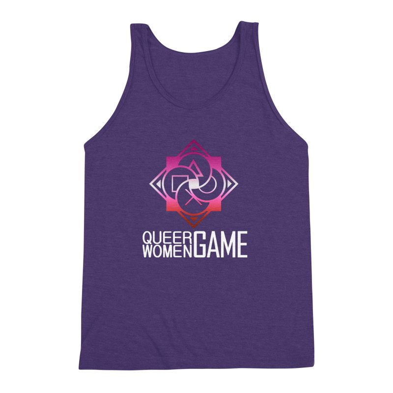 Logo & Text - Lesbian Pride Men's Triblend Tank by Queer Women Game Loot