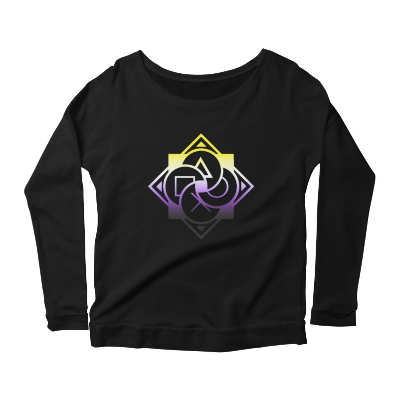 Logo - Nonbinary Pride Women's Scoop Neck Longsleeve T-Shirt by Queer Women Game Loot